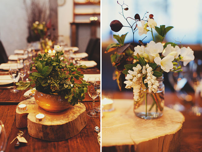 wood slice centerpiece