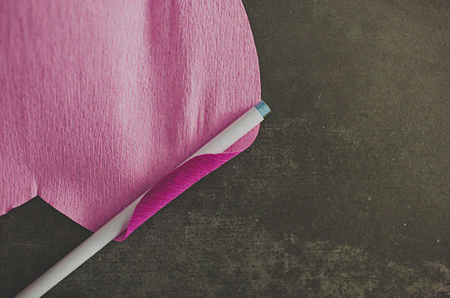 DIY papel flor rosa