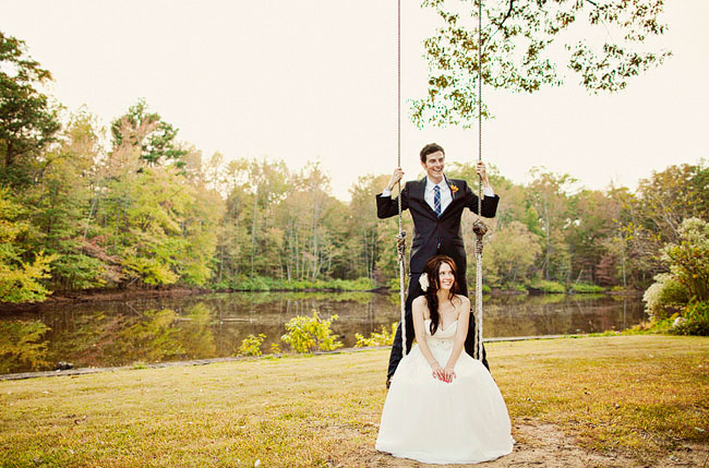 bride and groom on a swing