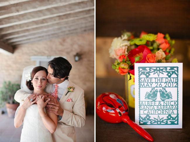 papel picado wedding invitation