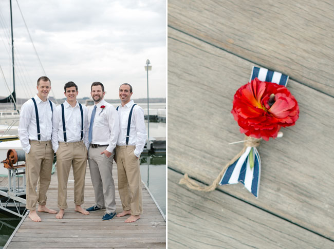 red white and blue boutonniere