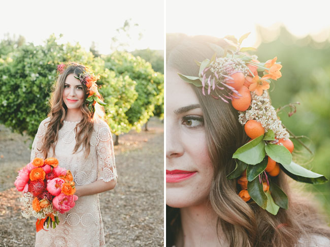 orange flower hair piece