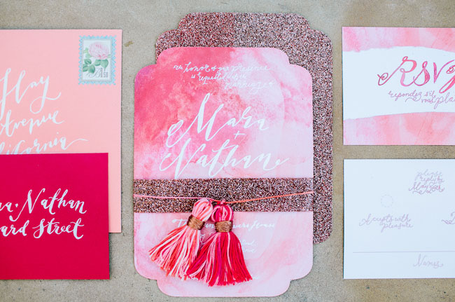 pink watercolor tassel invitation