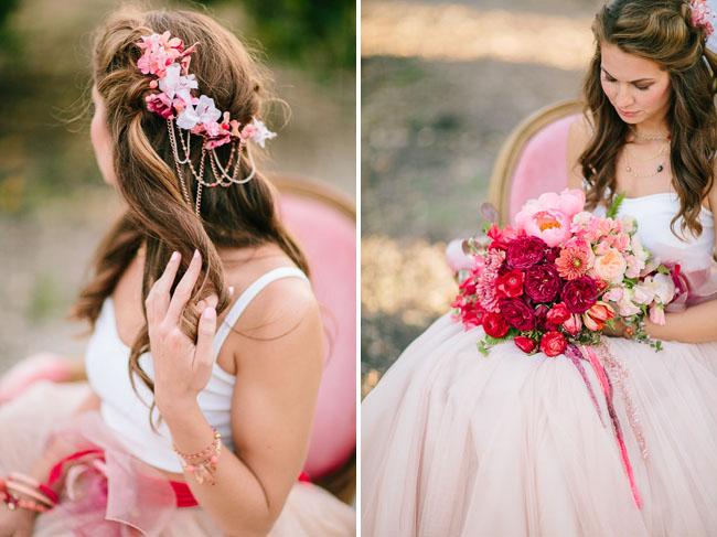 pink flower hair piece