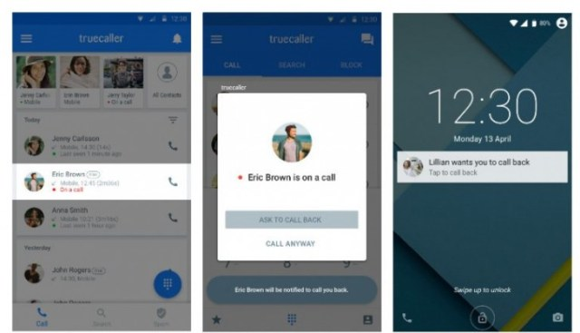 Truecaller call me back feature for Android
