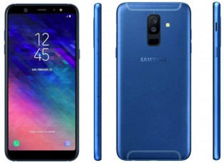 Galaxy A6+ renders in blue and gold