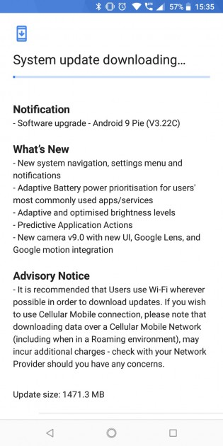 Screenshot confirming the arrival of Android Pie
