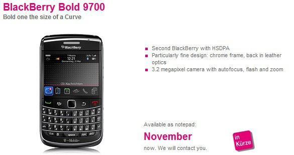 BlackBerry Bold 9700 Now Official, Thanks To T-Mobile