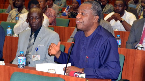 Minister of Foreign Affairs Geoffrey Onyeama (right) with Aduku Onoja , Director in the ministry, during an investigative hearing on the alleged sexual misconduct leveled against three lawmakers by the US  Ambassador to Nigeria, James Entwistle in Abuja on Thursday, July 21, 2016. PHOTO LADIDI LUCY ELUKPO