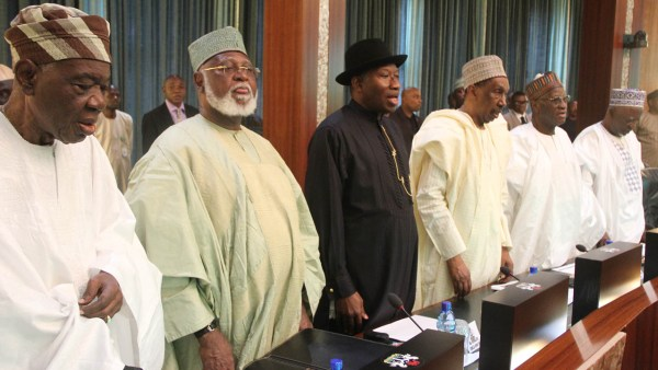 L-R: Former Interim head of state Chief Ernest Shonenkan, former head of state General Abdulsalami Abubakar, rormer President Dr. Goodluck Jonathan, former Chief Justices of the Supreme Court Justice Mohammed Uwai,s Justice Alfa Belgore and Justice Kutigi, at the National Council of State meeting at the State House, Abuja on Wednesday. PHOTO: PHILIP OJISUA