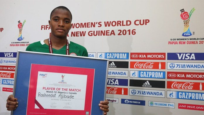 Rasheedat Busayo Ajibade of Nigeria pictured with the 'Player of the Mtach' award after during the FIFA U-20 Women's World Cup, Group B match between Nigeria and Canada at Bava Park on November 16, 2016 in Port Moresby, Papua New Guinea. PHOTO: Ian Walton - FIFA/FIFA via Getty Images