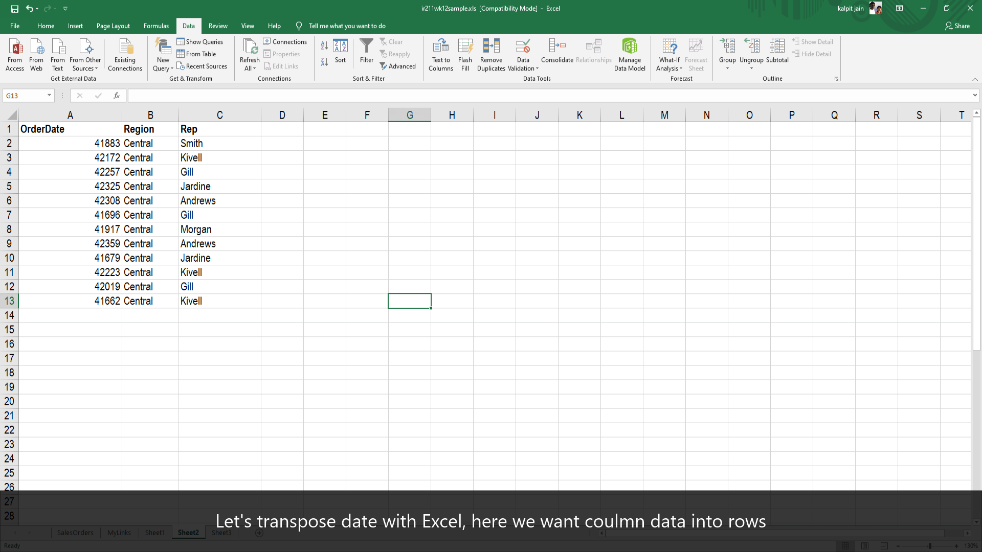 How To Easily Tranpose Value In Microsoft Excel From Row