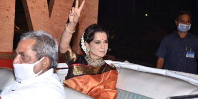 Pics: Kangana in pure Kanjivaram silk at Thallife trailer launch