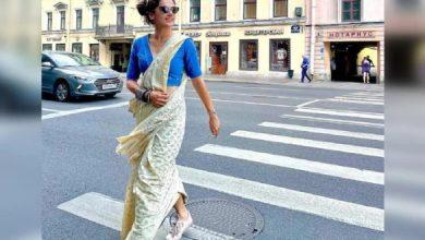 Taapsee Walks St.Petersburg Streets In Saree And Sneakers