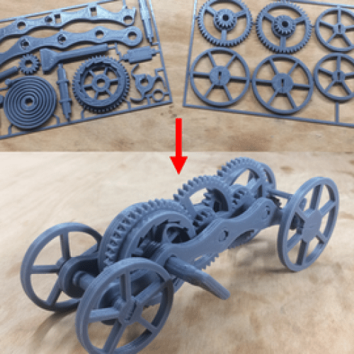 Fully 3D-printable wind-up car gift card