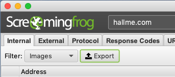Screenshot of Screaming Frog Export Button