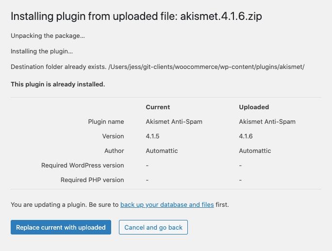WordPress plugin zip updater