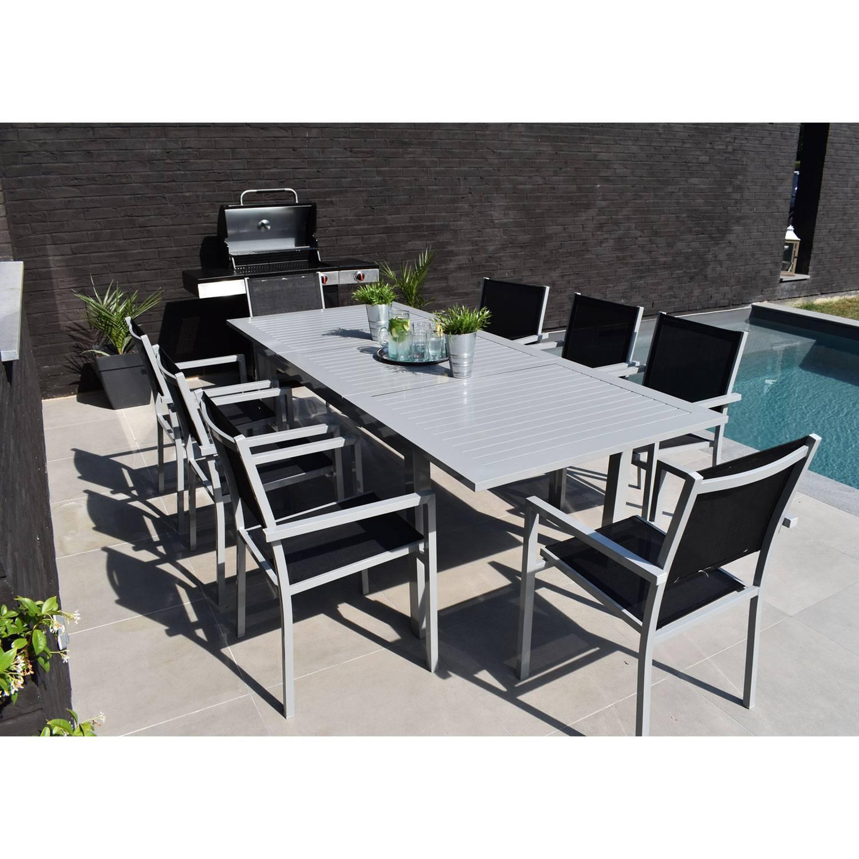 salon de jardin capri extensible en textilene noir 8 places aluminium gris