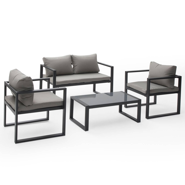 salon de jardin ibiza en tissu gris 4 places aluminium anthracite