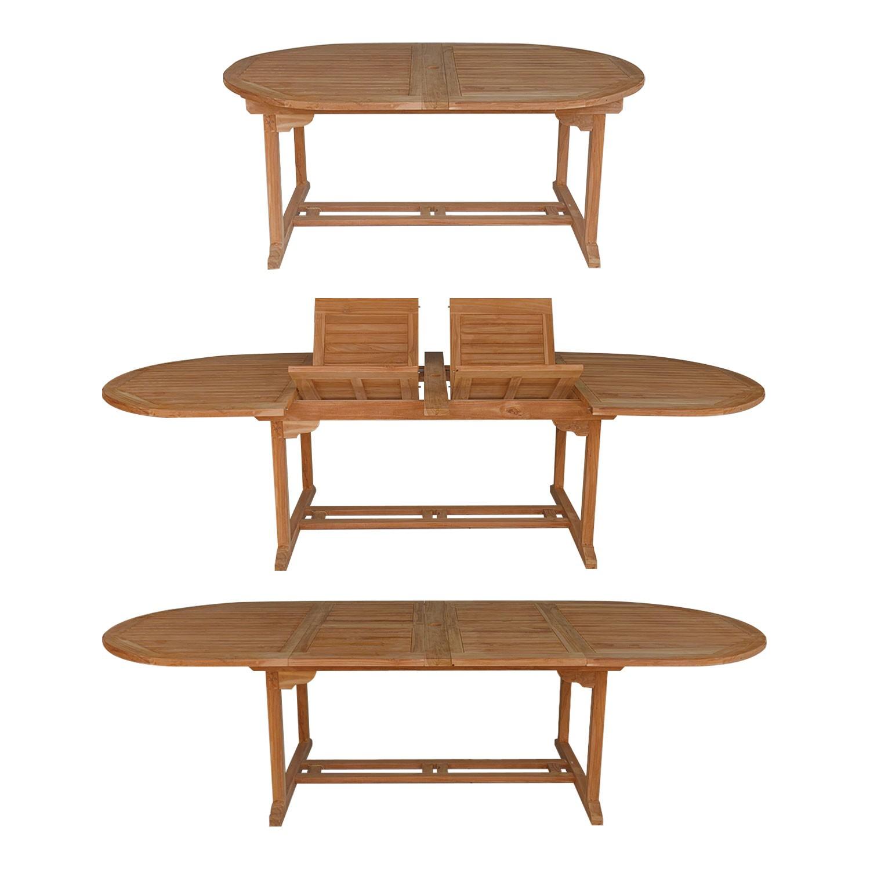 salon de jardin en teck lombok table ovale extensible 10 places