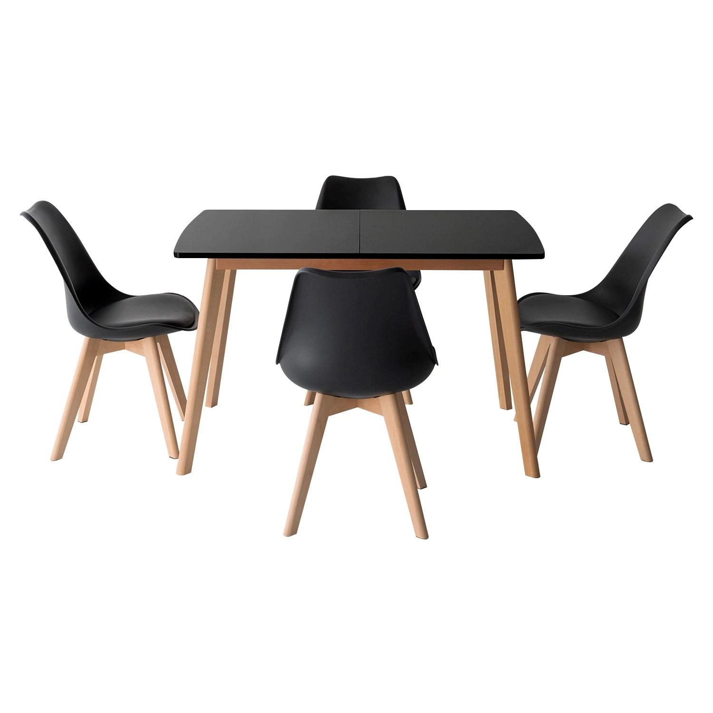 ensemble table extensible 120 160cm helga et 4 chaises nora noir