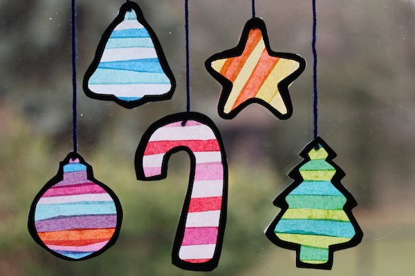 Tissue Paper Stained Glass Christmas Shapes for Preschoolers