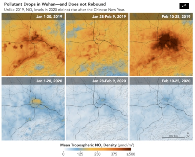 Imágenes satelitales muestran la reducción en la contaminación en China. FOTO: NASA