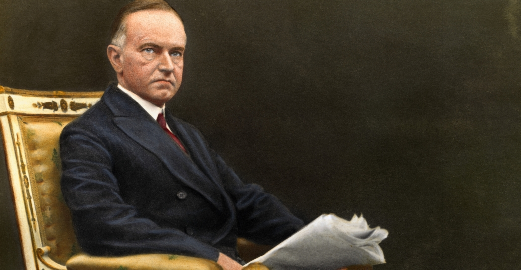 Calvin Coolidge, 30th president of the United States (elected vice president in 1920, and succeeding to the presidency upon the death of Warren G. Harding).  History.com image