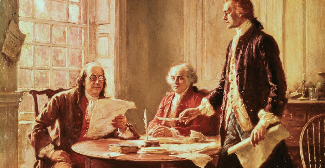 benjamin franklin, john adams, thomas jefferson, founding fathers, the declaration of independence, all mean are created equal, endowed with certain unalienable rights, fourth of july