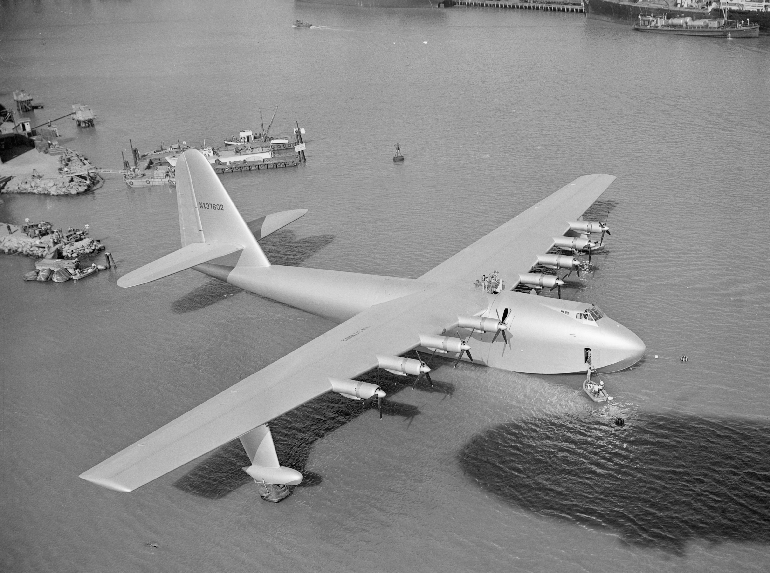 Image result for Howard Hawkes Flying Boat  'Spruce Goose' seen in dry dock at Long Beach