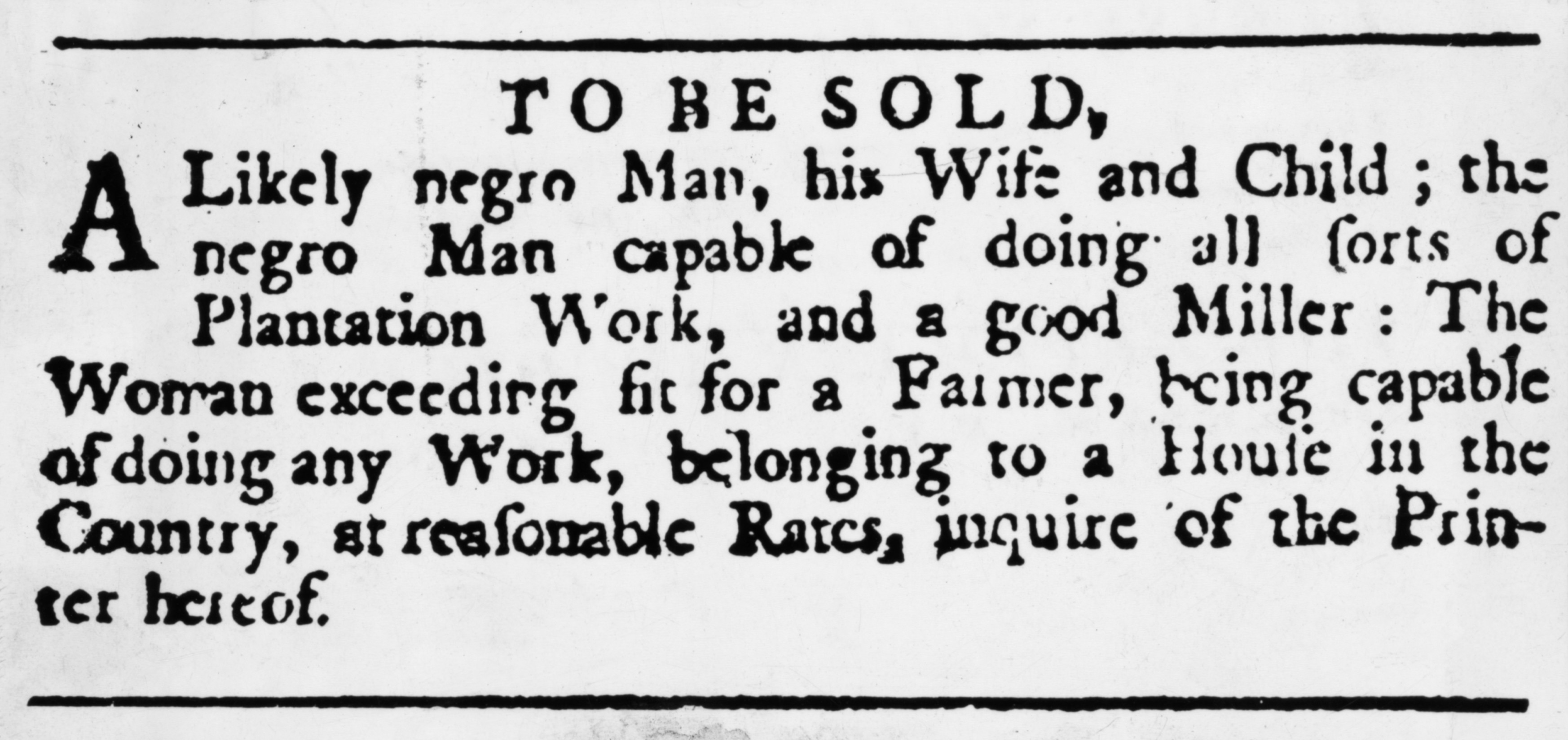 Newspaper Ad Offering Slaves For Sale