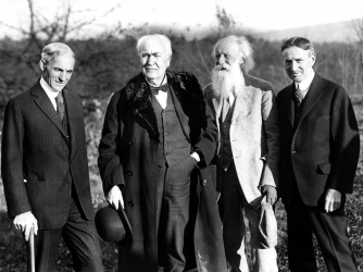 Henry Ford, Thomas Edison, John Burroughs, Harvey Firestone