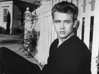Portrait of James Dean on the set of director Nicholas Ray's film, 'Rebel Without a Cause.' (Credit: Hulton Archive/Getty Images)