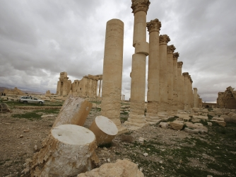 Columns in the courtyard of the Temple of Bel at the ancient city of Palmyra on March 14, 2014. (Credit: JOSEPH EID/AFP/Getty Images)