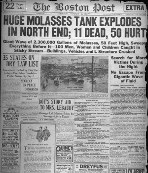 "Front page of the January 16, 1919, ""Boston Post"" covering the disaster."