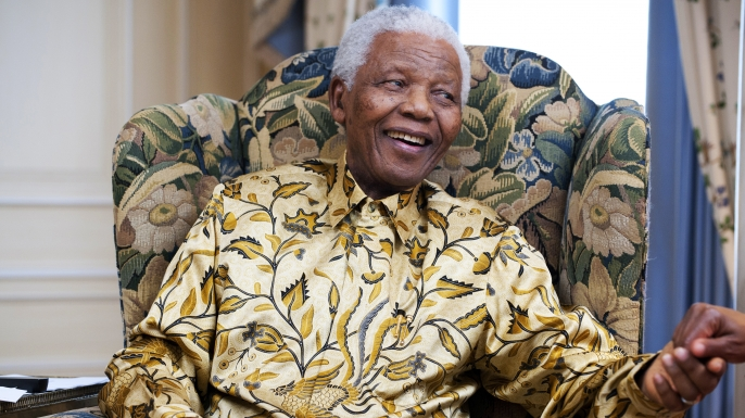 Former President of South-Africa Nelson Mandela at a photoshoot for his 90th birthday. (Credit: Terry O'Neill/Getty Images)
