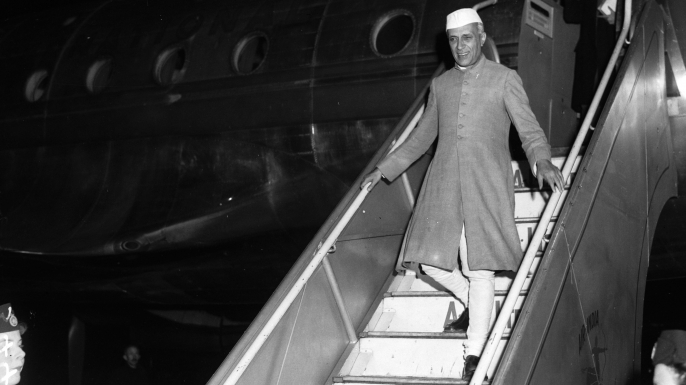 Pandit Jawaharlal Nehru, Indian nationalist leader and statesman, arriving at London airport. (Credit: Allan/Express/Getty Images)