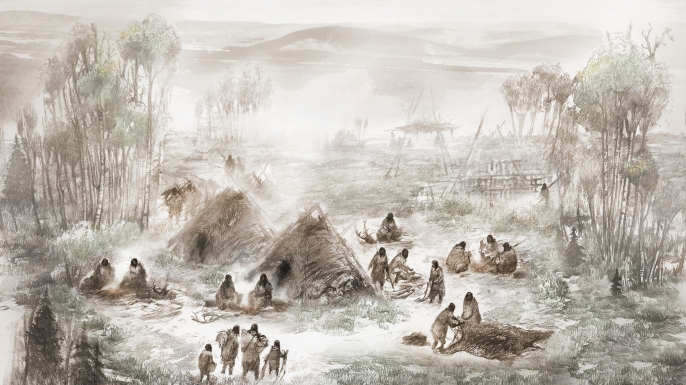 A scientific illustration of the Upward Sun River camp in what is now Interior Alaska. (Credit: Eric S. Carlson in collaboration with Ben A. Potter/University of Alaska Fairbanks)