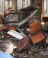 A Paris subway car bombed in 1995.