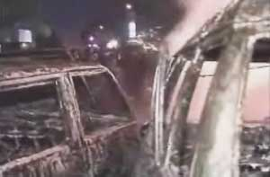 Damaged cars from the Christmas Eve bombings.