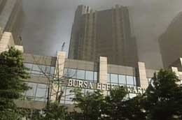 Smoke rising from the bombed Jakarta stock exchange.