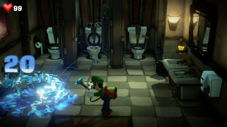 Image showing the Bathroom Ghost you need to fight to get the White Gem on 2F.