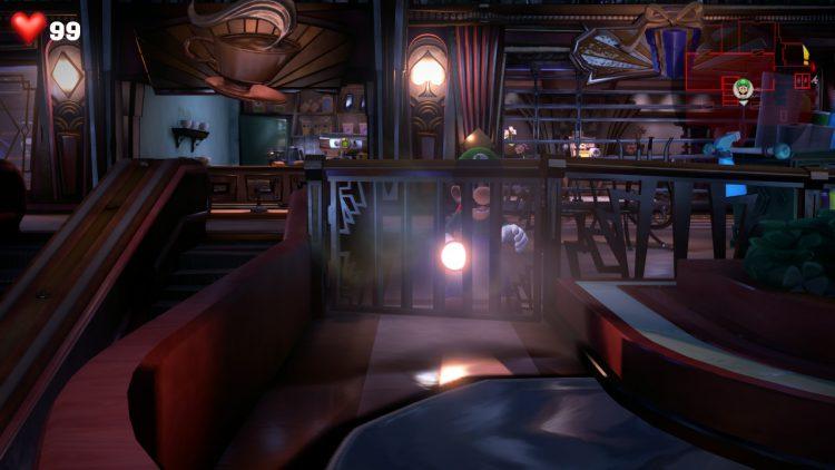 White Gem Location Above Elevator Hall 750x422 - Luigi's Mansion 3 - Guida: dove trovare tutte le gemme dei piani 3 e 4