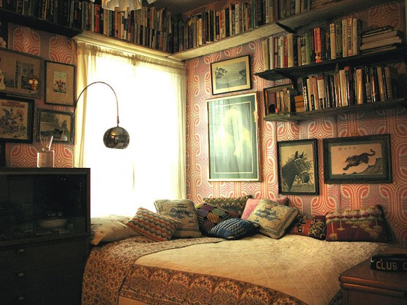 Bed with bookshelves