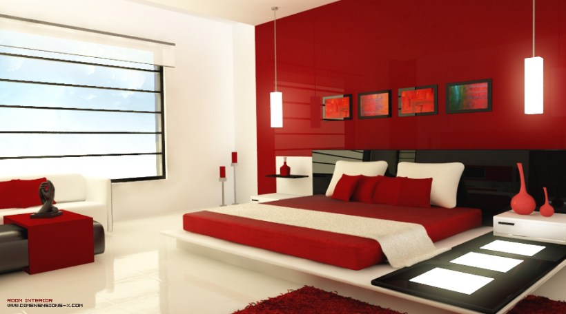 red and white themed bedroom