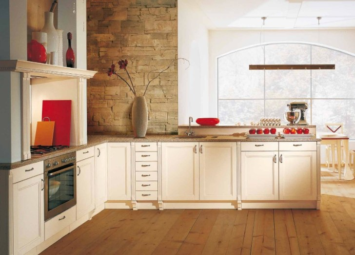 Classic Kitchen Red Accents Interior Design Ideas