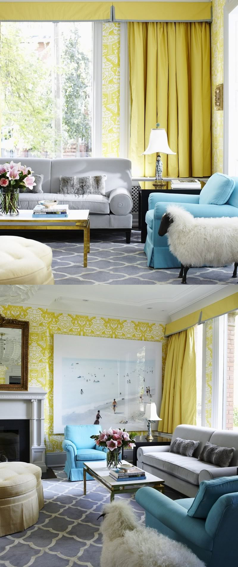 Blue grey living room - Perfect Yellow And Grey Living Room Decor 51 On With