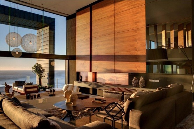 Neutral wood panel living room sea view