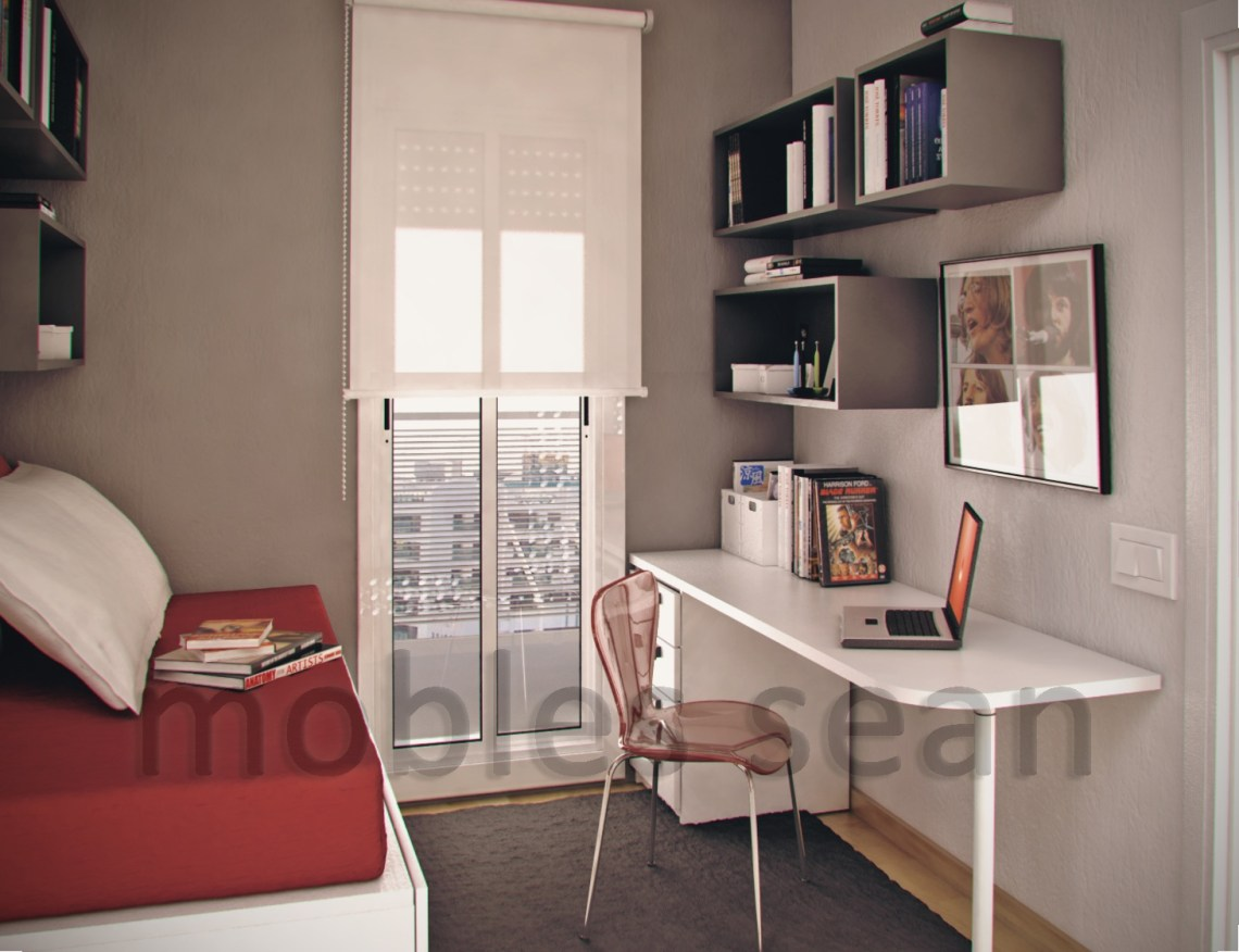 | Red white grey small kids roomInterior Design Ideas.
