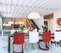 colorful-red-white-open-plan-living-area-210x185 Indoor Skylights: 37 Beautiful Examples To Tempt You To Have One For Yourself